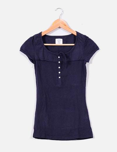 Camiseta azul marina con botones H&M