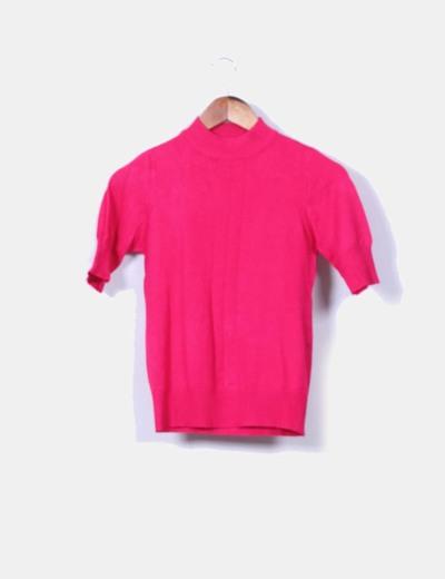 Top tricot fucsia cuello chimenea Lefties