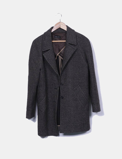 Abrigo lana espiga jaspeado Massimo Dutti