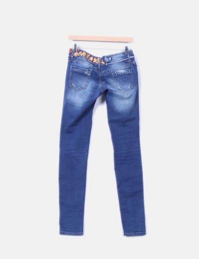 Jeans denim desigual ripped bordado
