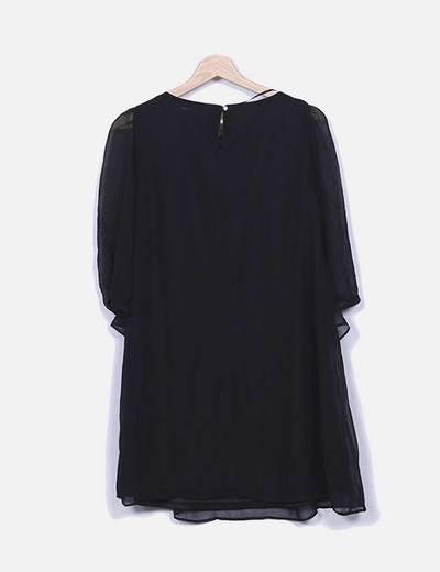 Vestido de gasa combinada negro