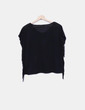 Camiseta negra con flecos con strass Belcci