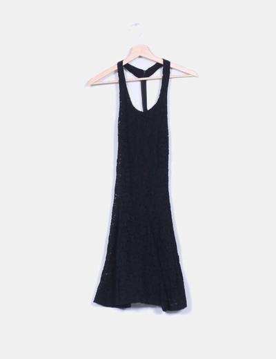 16e8f3f12e42 Vestido negro encaje espalda nadadora