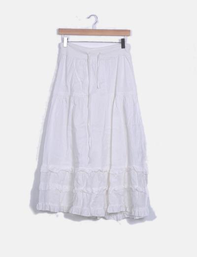 Maxi falda blanca con volantes