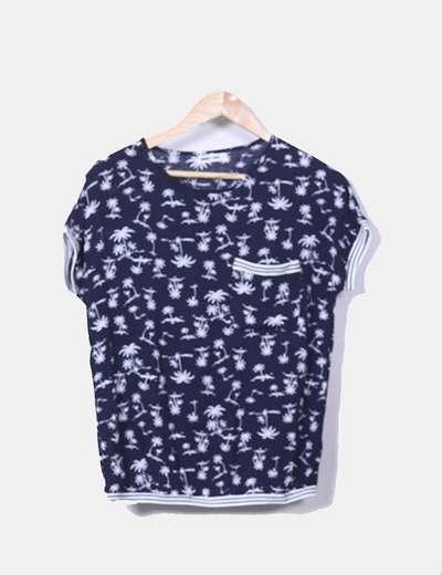 Camisa azul marino print palmeras Ginger + Soul
