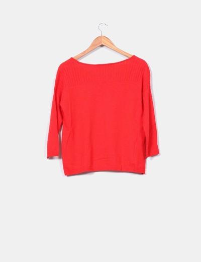 Jersey de lana rojo manga francesa escote canale