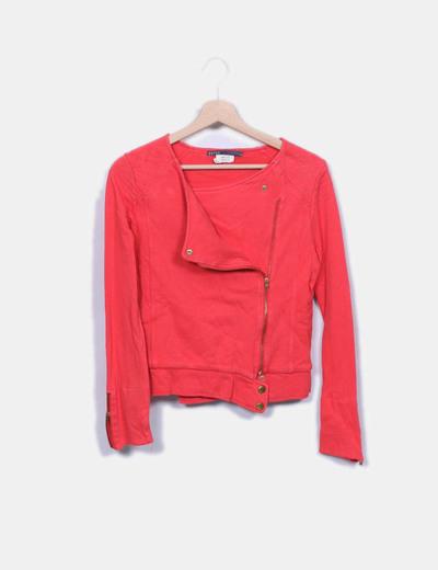 Veste rouge à fermeture éclair latérale EKYOG