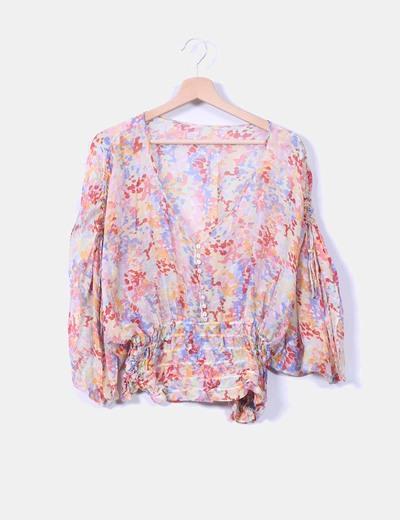 Blusa seda floral cintura elástica NoName