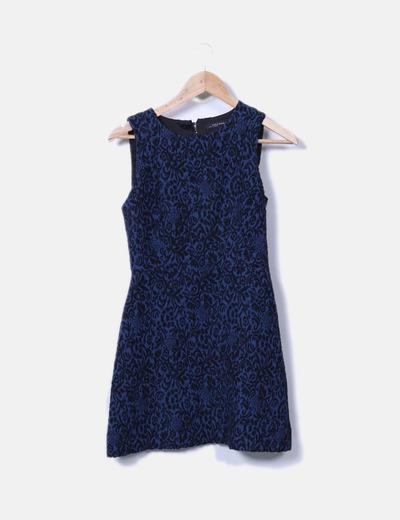 calidad confiable buena reputación el precio más bajo Vestido azul marino con bordado negro
