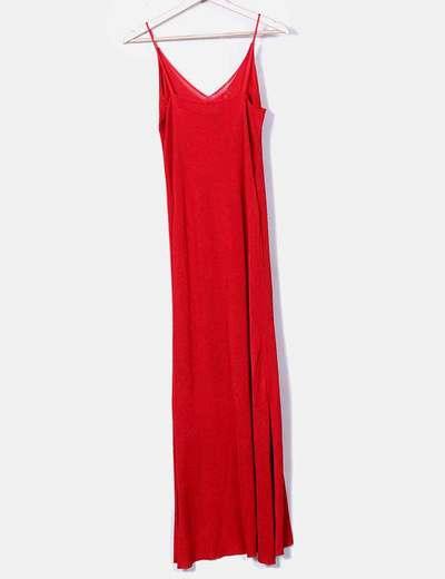 descuento hasta 60% descuento especial gama exclusiva Maxi vestido rojo plisado