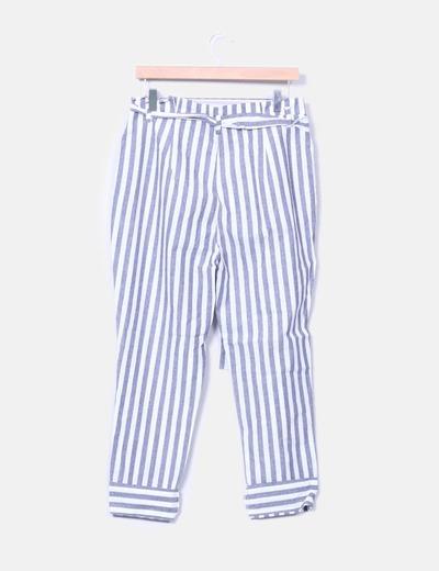 Pantalon baggy rayas azules