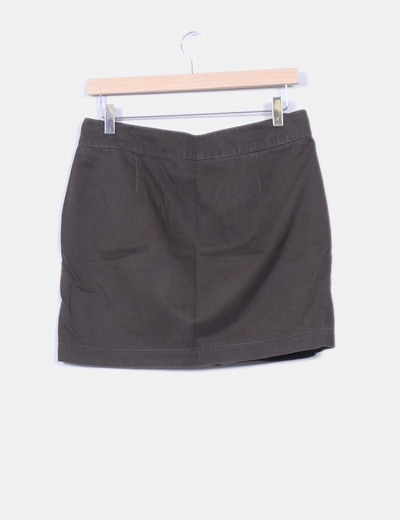 Mini falda caqui botones laterales