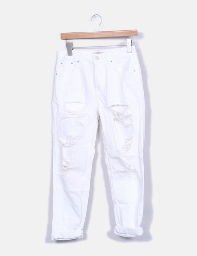 Jeans blancs ripped Topshop