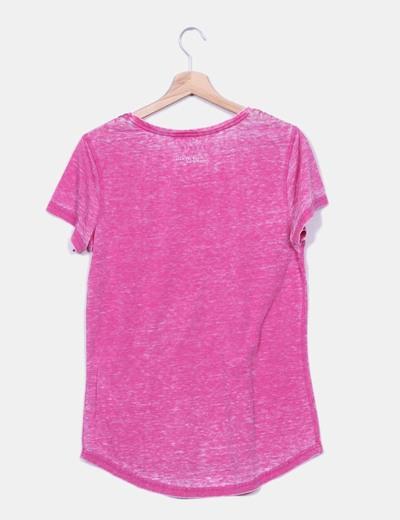 Camiseta jaspeada rosa detalle hombros