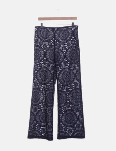Pantalón de encaje azul marino