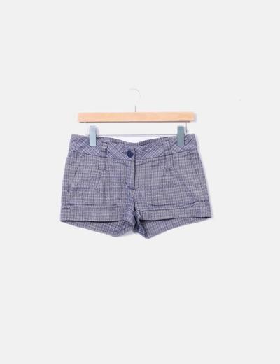 Shorts cuadros azul marino