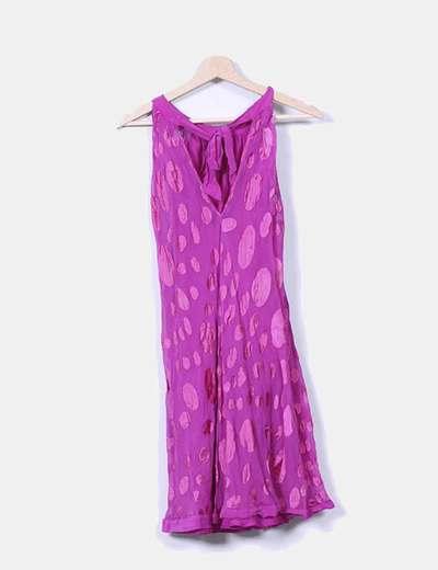 Vestido rosa fucsia con lunares