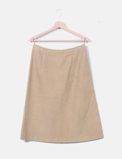 Falda recta beige