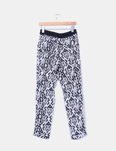 Pantalon baggy blanco y negro