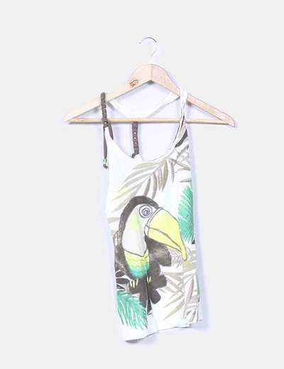 Top blanco print tucan