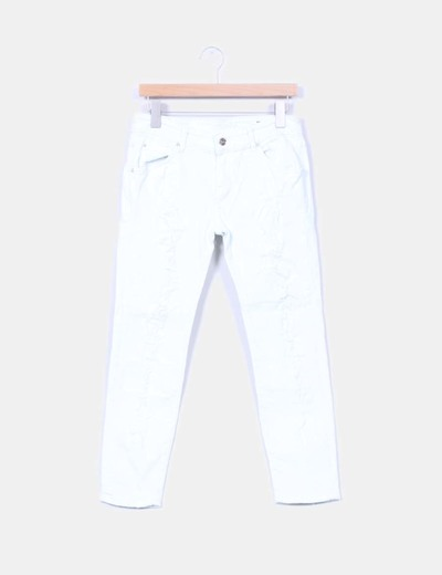 Pantalón denim blanco con roturas Mango