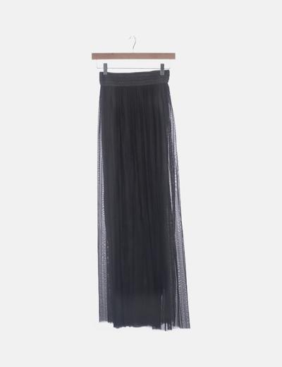 Falda plisada gris cintura bordada