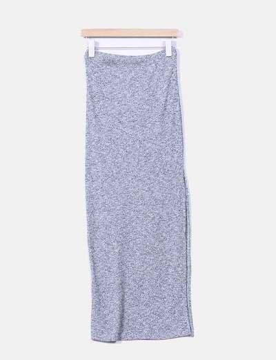 Falda maxi gris jaspeada con abertura