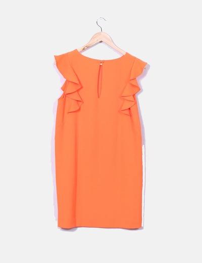 Vestido naranja fluor con volantes