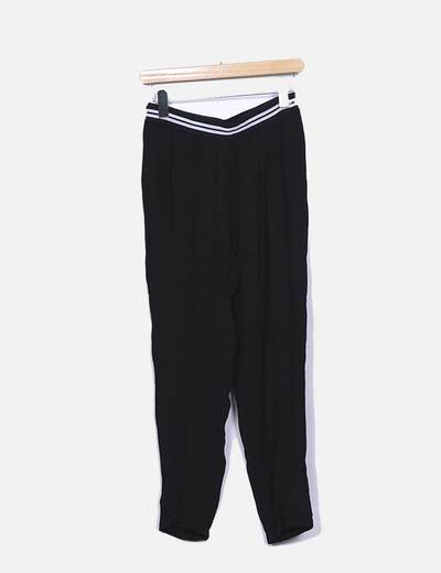 Pantalon baggy negro con elastico