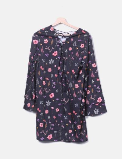 Fluxo de mangas de manga floral preto vestido NoName