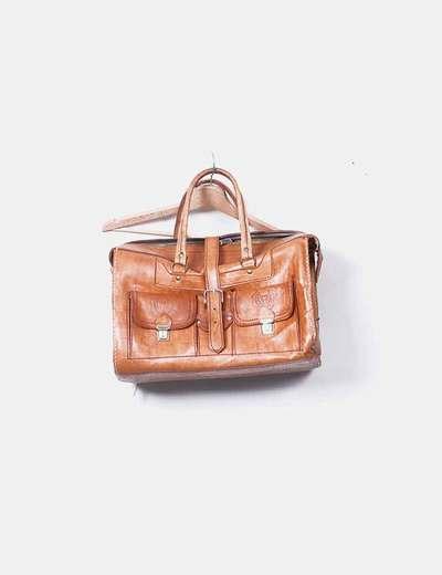 Bolso de viaje cuero marrón