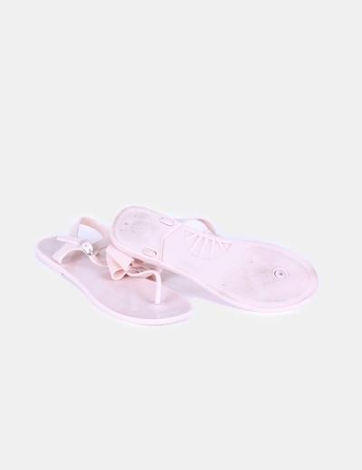 Sandalia rosa palo con lazo