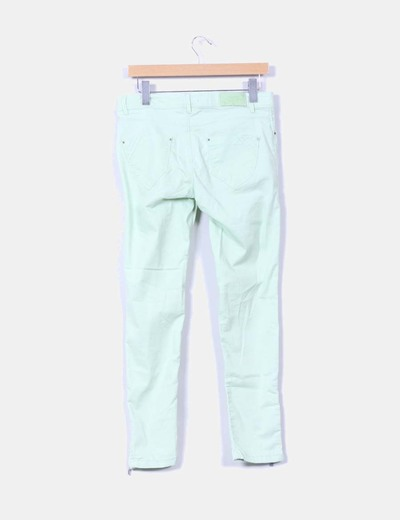 Pantalones vaquero color mint