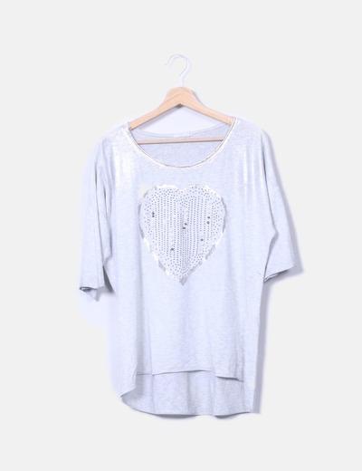 Camiseta plateada con abalorios Made in Italy