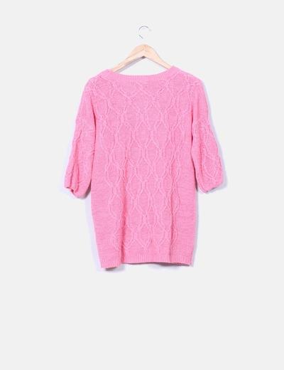 Jersey de punto rosa manga francesa