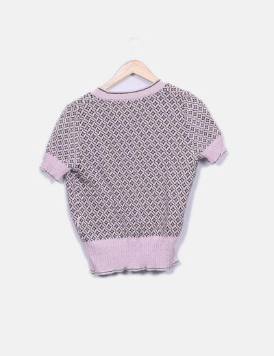 Chaqueta tricot rosa manga corta