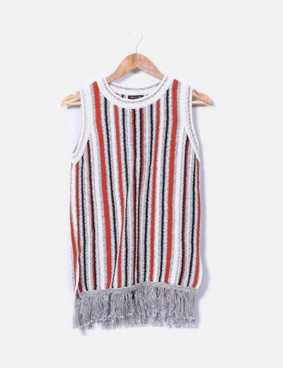 Top frangé en tricot Massimo Dutti