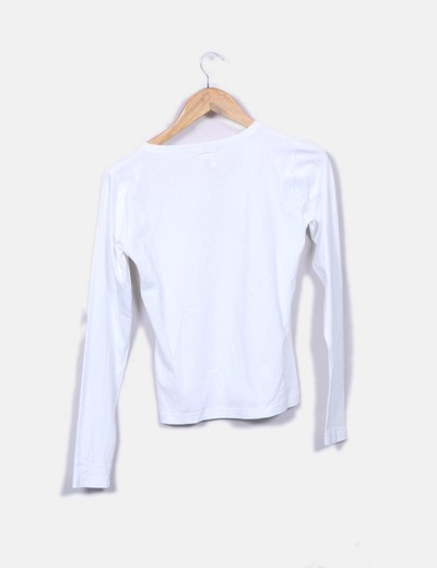 Camiseta blanca print only de cuadros
