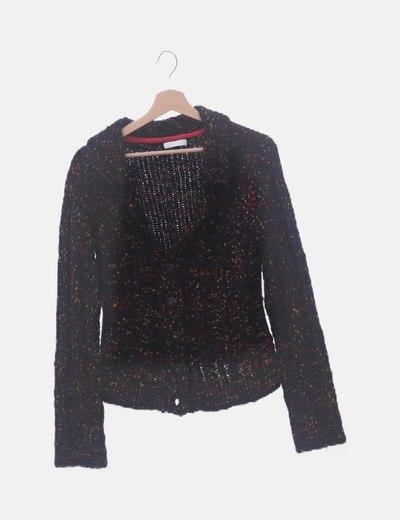Chaqueta tricot negra jaspeada