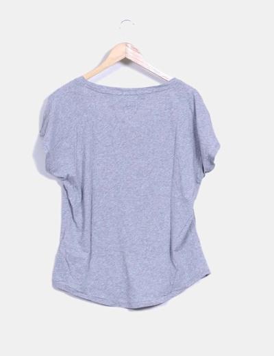 Camiseta gris print buho con pailettes