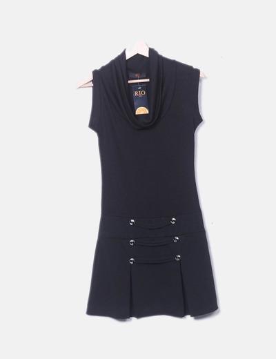 Vestido negro botones RIO