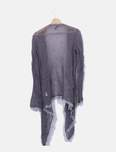 b197ef9d56d5e Uno piú Uno Casaco de malha cinzento assimétrico (desconto de 76%) - Micolet