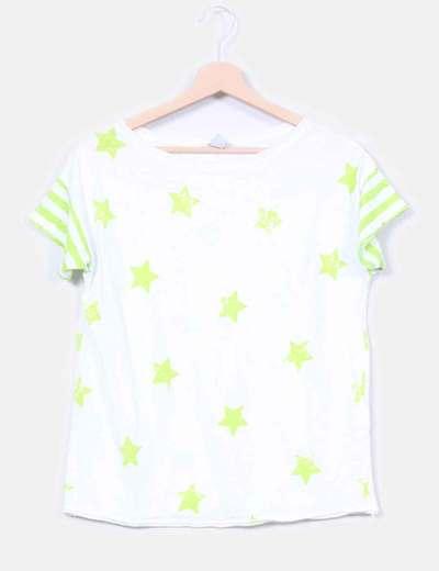 Top blanco print estrellas pistacho Zara Kids
