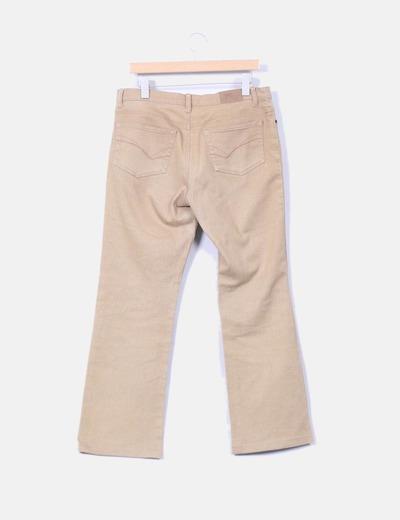 Pantalon camel con brillos de tiro alto