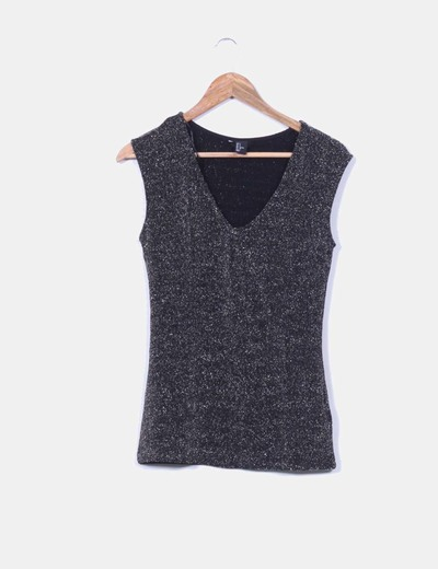 Top negro sin mangas brillos plateados H&M