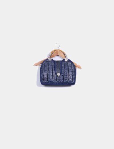 Bolso de rafia azul marino combinado con asa de madera NoName