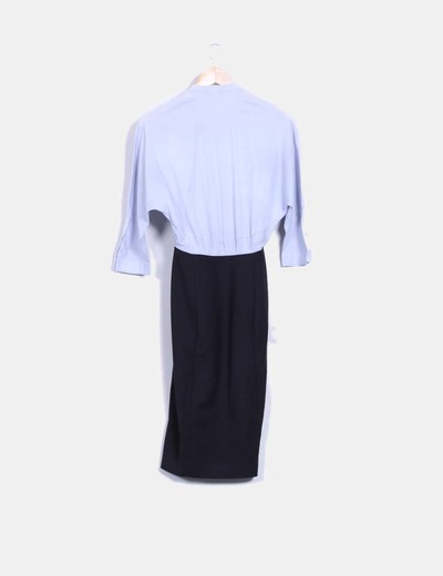 Vestido midi combinado falda y camisa azul