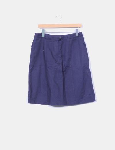 Falda midi azul marino H&M