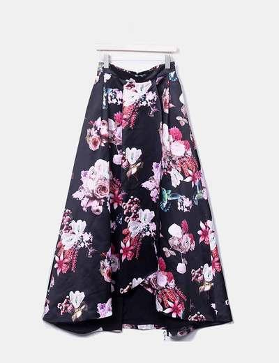 Maxi floral saia preta de cetim Pinko