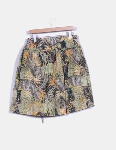 Falda plisada estampado tropical detalle bolsillos y cierre central